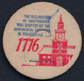 #DC158 - Uncommon Commemorative 1776 Signing of the Declaration of Independence Milk Bottle Cap