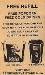 #CC017 - 1970s Theater Coca Cola Free Refill Coupons