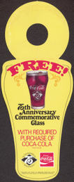 #CC225 - Coca Cola 75th Anniversary Diecut Cardboard Bottle Hanger for Glass Giveaway