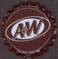 #BC096 - Group of 10 Dark Brown A & W Root Beer Plastic Lined Soda Caps
