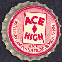 #BC085 - Scarce Early Cork Lined Ace High Soda Bottle Cap
