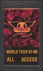 #MUSIC387  - 1987-88 Aerosmith Laminated Backstage Pass from the Permanent Vacation Tour