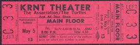 #MUSIC340 - 1967 The Association/The Turtles Ticket from the KRNT Theater