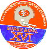 #BA015  - Large 49ers Super Bowl XVI Pinback