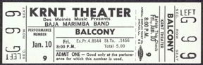 #MUSIC344 - 1969 Baja Marimba Band Ticket from the KRNT Theater