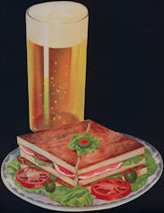 #SIGN167 - Diecut Diner Paper Sign Picturing and Ham Sandwich and Glass of Beer