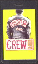 #MUSIC256  - Yellow Laminated 1988 Bob Dylan Interstate 88 Tour Backstage Pass