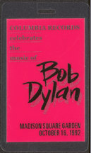 #MUSIC472 - Bob Dylan Laminated Backstage Pass from Dylan Tribute with Dylan Clapton, George Harrison, etc.