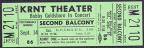 #MUSIC341 - 1968 Bobby Goldsboro Ticket from the KRNT Theater