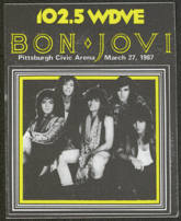 #MUSIC744 - Bon Jovi StarLiner Radio Promo Cloth Backstage Pass from the 1987 Slippery When Wet Tour - Radio WDVE