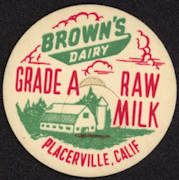 #DC143 - Brown's Dairy Raw Milk Bottle Cap