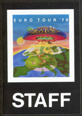 #MUSIC382  - Rare Paper Peel Off 1979 Boston Staff Backstage Pass from the Euro Tour