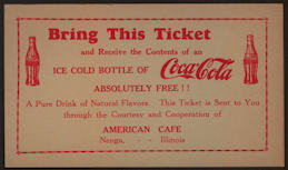 #CC309 - Early Free Ice Cold Bottle of Coca Cola Ticket