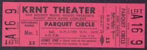 #MUSIC345 - 1969 Buddy Rich Ticket from the KRNT Theater