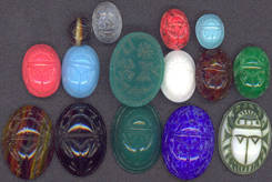 #BEADS0174 - Fancy Glass Scarabs with Embossing and Hieroglyphics - Pick Your Color and Size