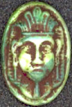 #BEADS0236 - Embossed Glass Czech Pharoah Head Cabochon