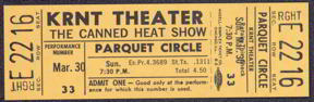 #MUSIC338 - 1969 Canned Heat Ticket from the KRNT Theater