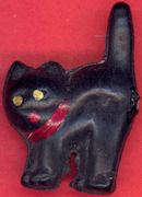 #HH166 - Celluloid Hand Painted Miniature Halloween Black Cat - As low as $1.50 each