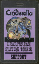 #MUSIC467  - 1991 Cinderella Laminated Backstage Pass from the Heartbreak Station Tour
