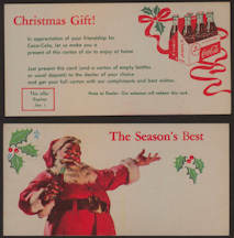#CC312 - Coca Cola Christmas Gift Coupon Picturing Santa