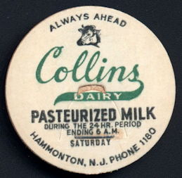#DC171 - Collins Dairy Pasteurized Milk Bottle Cap with Cow Head Pictured