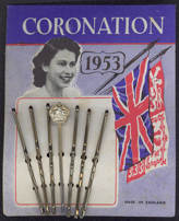 #CH261 - Carded Commemorative 1953 Coronation Bobby Pins Featuring Queen Elizabeth