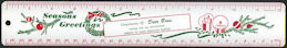 #HH172 - Heavy Tin Lithographed Christmas Ruler from Derr Bros. Soda Supplies - Boonville, IN