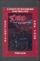 #MUSIC435 - Scarce 1990 Dio Pre Tour Preview Laminated Backstage Pass from the Throw 'em to the Wolves Tour