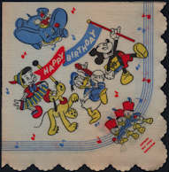 #CH354 - 1950s Licensed Disney Napkin with Mickey and Friends