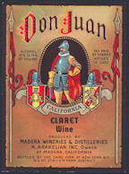 #ZLW133 - Super Rare Don Juan California Claret Wine Label