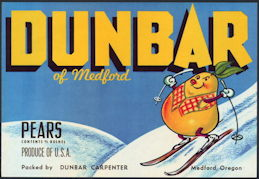 #ZLC368 - Dunbar Pear Crate Label Featuring a Skiing Pear - Anthropomorphic