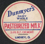 #DC150 - Dunmyer's Dairy Whole Pasteurized Milk Bottle Cap - Lindsey, OH
