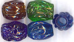 #BEADS0150 - Group of 3 Different Colored Large Rare American Glass Beads/Curtain Pulls from the Civil War Era