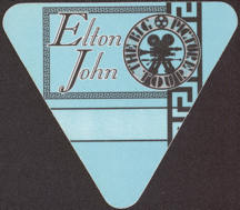 #MUSIC722 - Triangular Elton John OTTO Cloth Backstage Pass from the 1997 The Big Picture Tour