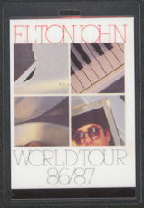 #MUSIC380  - 1986/87 Elton John Laminated Backstage Pass from the World Tour