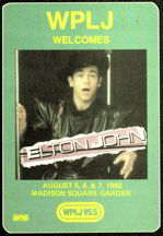 #MUSIC250  - 1982 Elton John at Madison Square Gardens OTTO Backstage Pass - Radio WPLJ