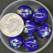 #BEADS0019 - 11mm Cobalt Glass Japanese Millefiori Flower Bead