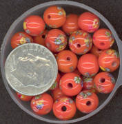 #BEADS0023 - 8mm Orange Glass Japanese Millefiori Flower Bead