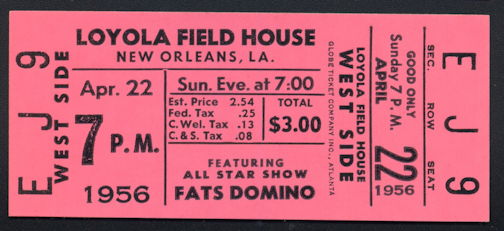 ##MUSICBP0259 - 1956 Fats Domino Ticket from the Loyola Field House Concert  in New Orleans