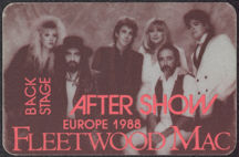 #MUSIC755 - Fleetwood Mac OTTO Cloth Backstage Pass from the 1988 Europe Tour