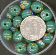 #BEADS0022 - 8mm Green Glass Japanese Millefiori Flower Bead