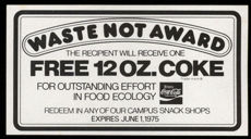 #CC276 - Free 12 oz. Coca Cola Waste Not Want Not Cardboard Coupon