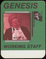#MUSIC758 - Genesis OTTO Cloth Backstage Pass from the 1987 Invisible Touch Tour Featuring Margaret Thatcher