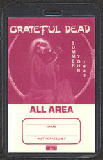#MUSIC389  - Rare Burgundy 1982 Grateful Dead Laminated Backstage Pass from the Summer Tour