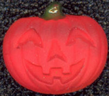 #BEADS0208 - Luminescent Glass Jack-O-Lantern Cabochon