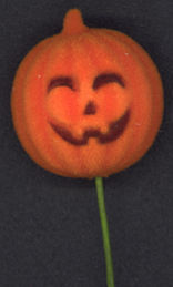 #HH142 - Flocked Jack O' Lantern Decoration on Long Wire Stem