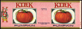 #ZLP135 - Very Rare Large Kirk Pumpkin Can Label