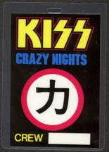 #MUSIC395  - Laminated 1987-88 Kiss Backstage Pass from the Crazy Nights World Tour