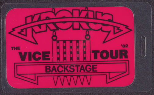 "#MUSIC558 - 1982 Krokus Laminated Backstage Pass from the ""Vice"" Tour"