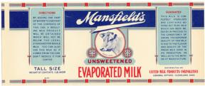 #ZLCA034 - Early Mansfield's Evaporated Milk Can Label